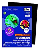 "Riverside 103607 Construction Paper, 76 lb, 0.5"" Height, 9"" Width, 12"" Length, Black (Pack of 50)"