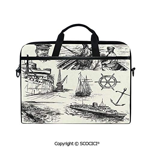 Customized Printed Laptop Bag Notebook Handbag Fisherman Captain Seaman Sailboat Old Historic Sketch Monochromic Artwork 15