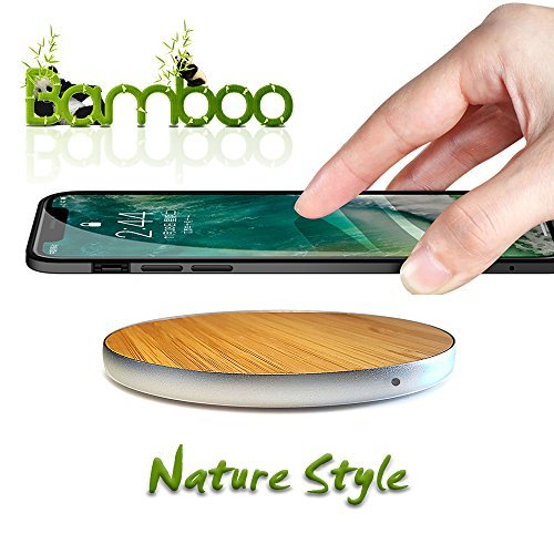 Wireless Charger,Bamboo Ultra-Slim Fast Qi Wireless Charging Pad Universal for iPhone X/8/8 Plus,Samsung Galaxy S9/S9 Plus/Note 8/S8/S8 Plus and More By VHskan