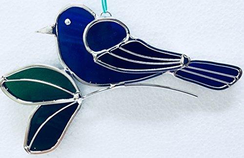 Indigo Bunting Bird - JGS Indigo Bunting Stained Glass Suncatcher