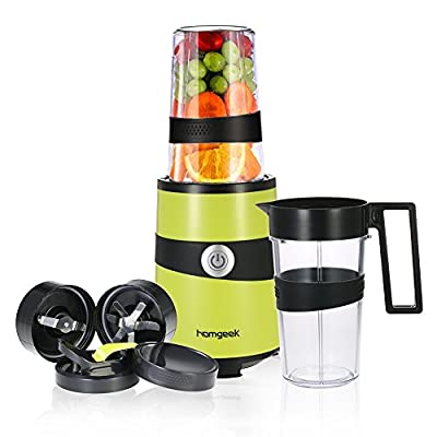 Homgeek Smoothie Blender, Fruits Mixer Personal Blender Nutrition Extractor with 2 Cups and Travel Bottle Lid