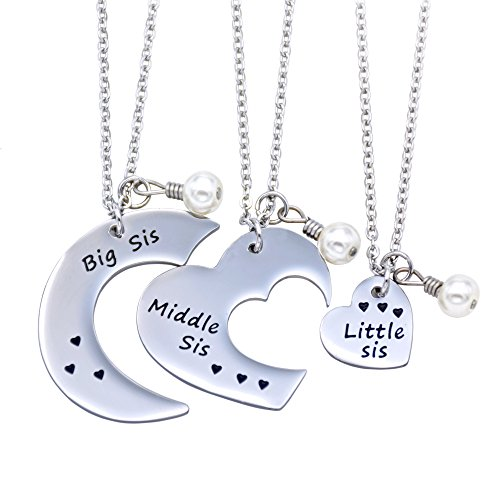 O.RIYA Big Sis Middle Sis Little Sis Jewelry Necklace Set 3 Pieces, Best Friend Necklaces Girls Jewelry , Bff Necklace Little Girls Kids Jewelry (White)