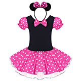Girls Kids Vintage Polka Dots Christmas Princess Dress Cosplay Fancy Ballet Dance Costume Leotard Tutu Skirt Pageant Party Birthday Outfits with Mouse Ear Headband Rose 12-18 Months