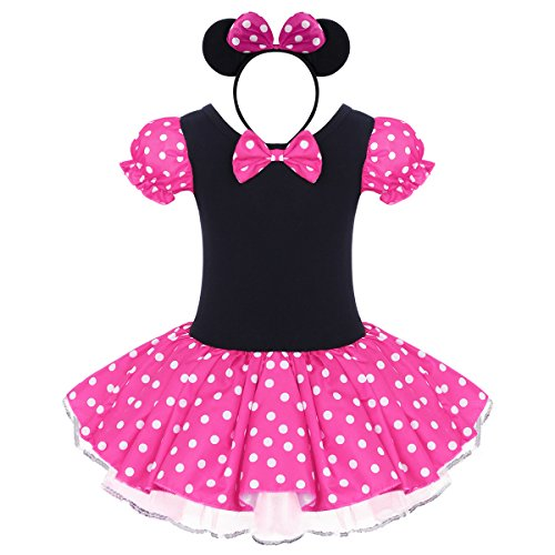 Toddler Girl Polka Dots Party Fancy Costume Birthday Tutu Dress up Dance Leotard Gymnastic Cosplay Gown w/Mouse Ear Headband Rose 12-18 Months -