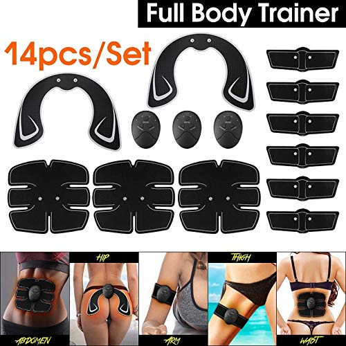 14PCS/Set Combo Full Body Fitness EMS Trainer Hip Butt Lifter Buttocks Enhancer Muscle Training Abs Workout Slimming Perfect Sexy Body Shaper Kit Muscle Training Gear Hip Buttocks Lifting Stimulator