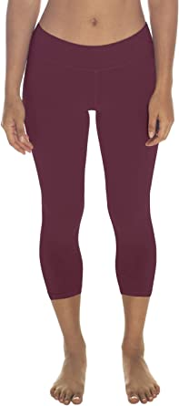 In Touch Leggings de algodón recortados para Mujer en algodón orgánico – Leggings Capri de algodón ecológico - Rojo - Small: Amazon.es: Ropa y accesorios