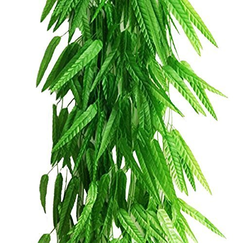 Artfen Fake Green Willow Rattan 71 Inch 50 Pack Artificial Green Bamboo Leaves Artificial Greenery Lvy Vine Leaves Artificial Flower Garland for Home Hotel Office Wedding Party Garden Decor