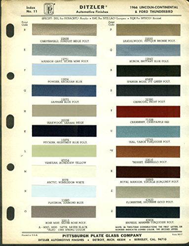Ditzler Automotive Finishes Color Chip Chart 1966 Lincoln & Thunderbird