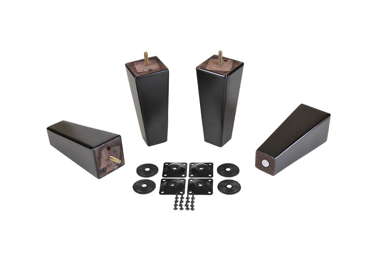 ProFurnitureParts 7'' Inch Espresso Finish Square Tapered Pyramid Wood Sofa Legs Set of 4 w/Leg Plates by ProFurnitureParts