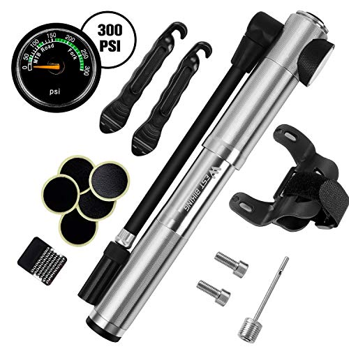 West Biking 300 PSI Mini Bike Pump, Bicycle Pump with Pressure Gauge, Fit Presta & Schrader, Aluminum Alloy Body, Accurate Inflation, Pressure Release, Frame-Mounted Bracket, Ball Needles