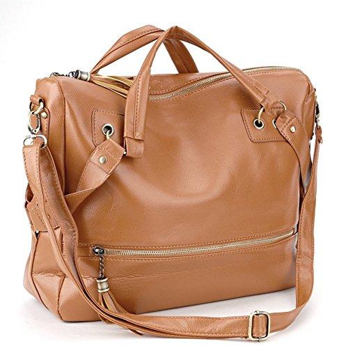 FTSUCQ Women Casual Leather Fringe Tasssel Shoulder Bag Cross Body Tan - Gabbana Dolce Usa Store And