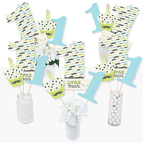 1st Birthday Dashing Little Man Mustache Party - First Birthday Party Centerpiece Sticks - Table Toppers - Set of 15 -