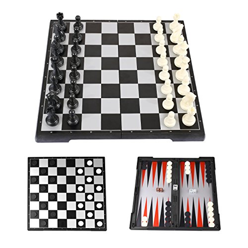 Peradix Chess Board Game Set with Magnetic Chess Backgammon Checkers 3-in-1 Folding Storage Board Portable for Travel with 3 Storage Bags (Board 1)