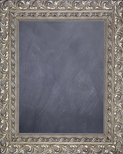 Framed Chalkboard 24'' x 36'' - with Ornate Antique Silver Finish Frame by Art Oyster