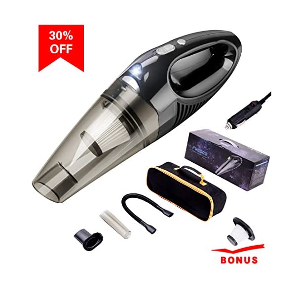 Car Vacuum Cleaner With LED Light ,DC 12 Volt 106W Portable Handheld Auto Vacuum Cleaners For Car 16.4FT Power Code HEPA Filters By MEWAY