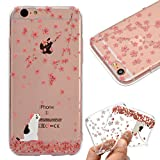 "Case for iPhone 6S 4.7"",Cover for iPhone 6 4.7"",Leeook Fashion Creative Transparent Pink Flower Cat Pattern Design Soft Ultra Thin TPU Silicone Protector Back Rubber Clear Flexible Slim Bumper Shell Mobile Phone Case Cover for Apple iPhone 6S/6 4.7"" + 1 x Free Black Stylus"