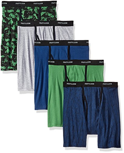 Large Ringer - Fruit of the Loom Men's No Ride up Boxer Brief (5-Pack), Assorted Ringer, Large