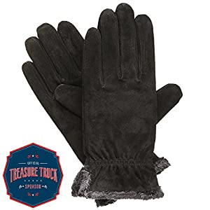 Isotoner Women's Suede Gloves with Gathered Wrist, Black, Medium