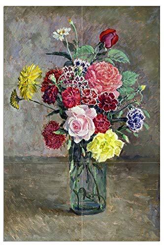 Ilya Mural de azulejos con rosas y claveles en un tarro de vidrio por Ilya Mashkov Flores Cocina Baño Ducha Pared Splashback...
