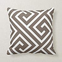 Modern Greek Key Pattern in Taupe and White Decorative Pillow Case Cushion Cover Sofa Bedroom Lumbar Throw Pillow Case 18x18 inches
