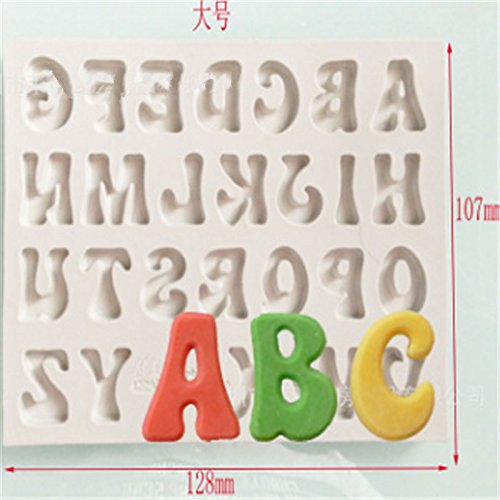 Rurah Candy Making Molds Alphabet Letters Shape Silicone Fondant Chocolate Candy Mold Cake Baking Mould,Uppercase Letter