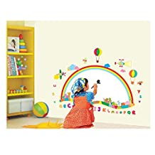 Ingenious Adhesive Rooms Walls Vinyl DIY Stickers / Murals / Decals / Tattoos For Kids Bedrooms / Nurseries With White Drawing / Painting Board, Rainbow, Hot Air Balloons And Alphabet Letters Designs In Many Colours By VAGA