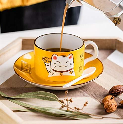 EatingBiting(R)5 Colors Handcraft Lucky Cat Maneki Neko Ceramic Tea Cups Mugs Dish Spoon 3PCs (orange) from EatingBiting(R)