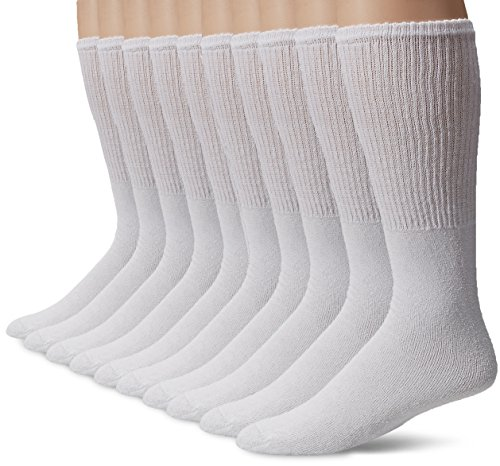 Gildan Men's Tube Socks (10 Pair Pack), White, Shoe Size: 6-12