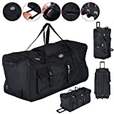 """Alitop 36"""" Rolling Wheeled Tote Duffle Bag Luggage Travel Duffle Suitcase Black"""