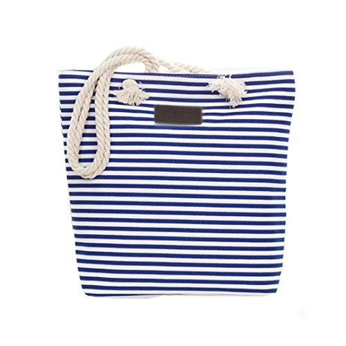 Tote Handbags Beach Bag Summer Zipper Ladies Millya Blue Stripe Shoulder Women Canvas IZtgnxY