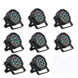 8 Piece Up-Lighting - Full RGB Color Mixing LED Flat Par Can - 18 LEDs per light - Red, Green and Blue color mixing - Up-Lighting - Stage Lighting - Dance Floor Lighting - Hi-Ray