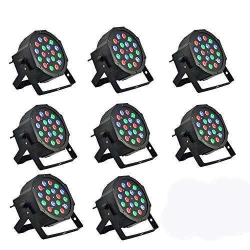 8 Piece Up-Lighting - Full RGB Color Mixing LED Flat Par Can - 18 LEDs per light - Red, Green and Blue color mixing - Up-Lighting - Stage Lighting - Dance Floor Lighting - Hi-Ray - Red Dj Lighting