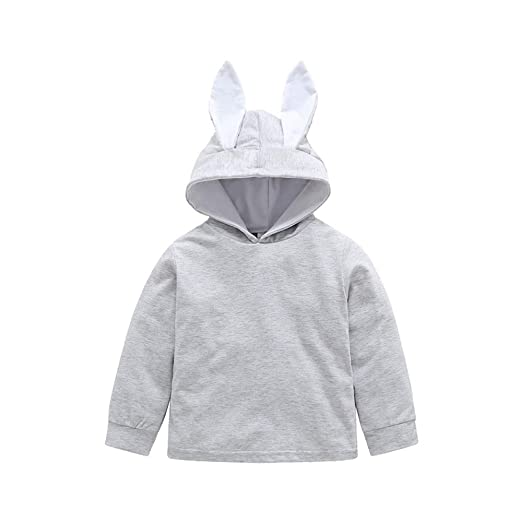 c8a1769eb9b Yalasga Infant Baby Girls Boys Cartoon Rabbit Ear Hooded Romper Winter Jumpsuit  Long Sleeve (2