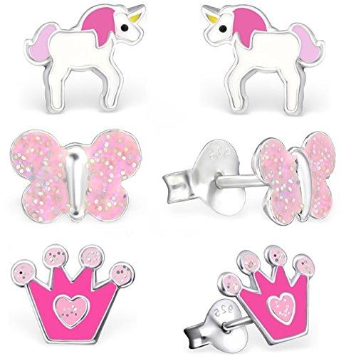 344a33b0602f GH   Kids 3 pares pendientes Unicornio + corona + Mariposa 925 plata  auténtica niña niños