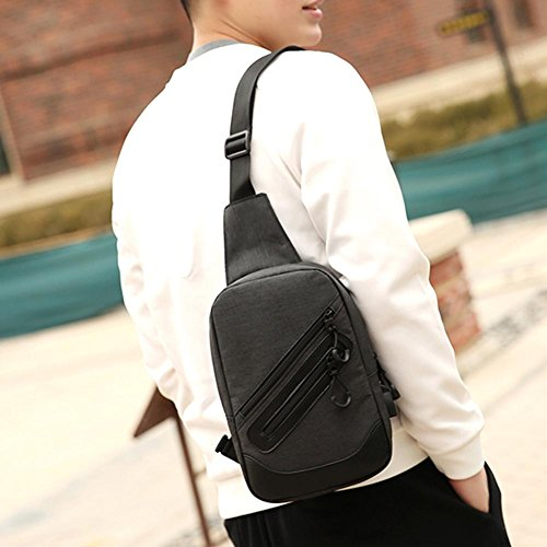 Canvas Handbags Laptop Black Crossbody Satchel Charge Everpert Men Chest Shoulder Usb Pack vfPwT5q