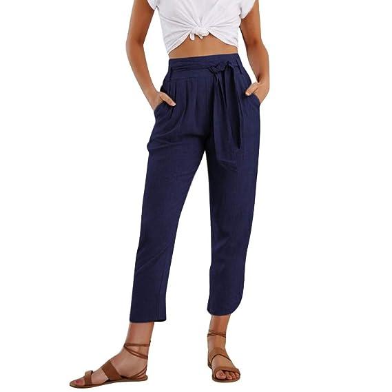 Pour Et Femme En Haute Lin Coton Pantalon Taille Décontracté 35LjAq4R