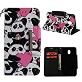 Leather Wallet Case for Samsung Galaxy J3 2018,Shinyzone Cute Cartoon Animal Love Heart Panda Painted Pattern Flip Stand Case,Wristlet & Metal Magnetic Closure Protective Cover