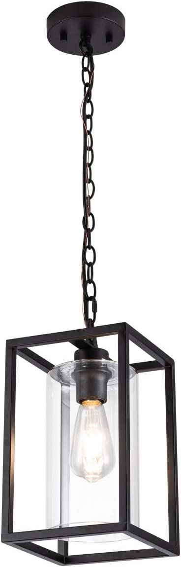 MAYNA Industrial Retro Pendant Lighting Iron Chandelier with Modern Clear Glass Shade Matte Black Cage Hanging Light Fixture for Kitchen Island Farmhouse, Dining Room, Foyer