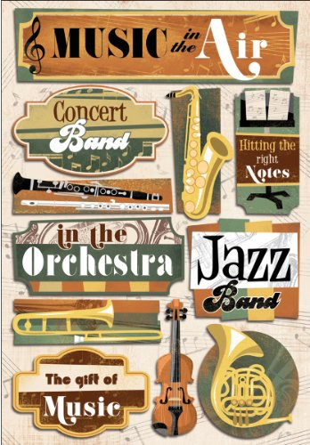 Music Cardstock Stickers-Music Is In The Air 1 pcs sku# 1201857MA