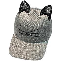 Paymenow Women Cat Ear Sequin Baseball Cap Snapback Caps Hip Hop Hats Sun Cap (Gray)