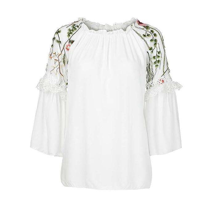 YOUBan Blusa otoño con Cuello en V de Las Mujeres Elegante de Moda Blusa Floral Tops