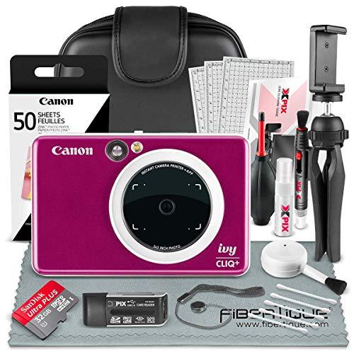 Canon Ivy CLIQ+ Instant Camera Printer (Ruby Red) + 60 Sheets Photo Paper + 32GB SD Card + Case + Deluxe Accessories Bundle (USA Warranty)