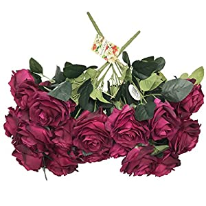 DALAMODA 2 Bundles (with Total 20 Heads) Red Wine Rose Flower Bouquet, for DIY Any Decoration Artificial Silk Flower 99