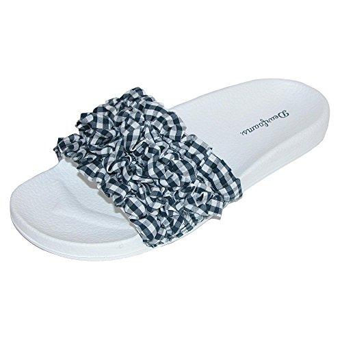 Peacoat Ruffle (Dearfoams Women's Ruffle Molded Footbed Slide Slipper, Peacoat, L Medium US)
