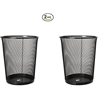 Rolodex Mesh Round Wastebasket, 11-1/2 Diameter x 14-1/4 H, Black (22351) (2, Black)