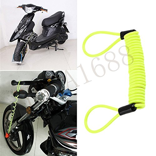 Yosa 150cm Green Security Anti Thief Motorbike Motorcycle Wheel Disc Brake alarm lock & bag and reminder spring cable random color