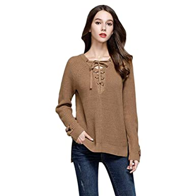 Womens Knitted Sweater Jumper Ladies Knitwear Lace Up Front V Neck Pullover