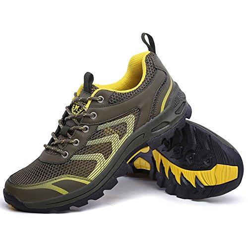 Impermeable senderismo zapatos de los hombres de malla transpirable Trail Outdoor caminando zapatillas para acampar Athletic corriendo deporte viajes escalada zapatos ejercito verde
