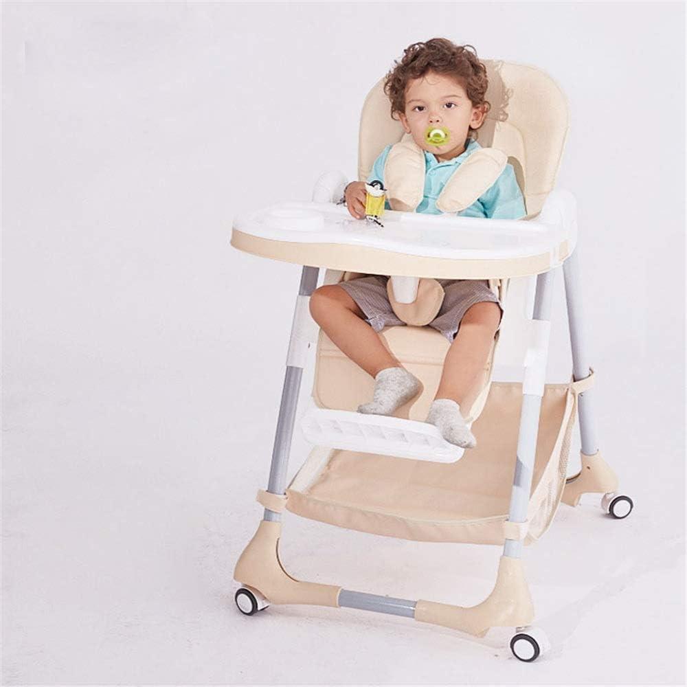 多機能 ハイチェア ノンスリップボードテーブルと赤ちゃんのブースト背の高いポータブル子給紙トレイにはベビーシートを供給折り畳み式 子供 お食事椅子 (Color : Beige)