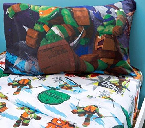 3 Piece Kids Teenage Mutant Ninja Turtles Sheet Twin Set, TMNT Bedding for Boys Girls Unisex, Michaelangelo Leonardo Raphael Donatello, Turtle Green Orange White Blue, Perfect for Movie Fans by OS